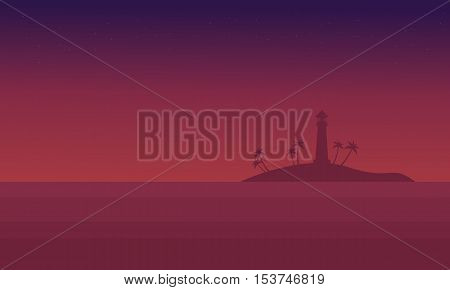 Scenery seaside at night of silhouette vector illustration