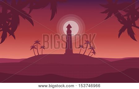 Silhouette of islands on red backgrounds vector illustration