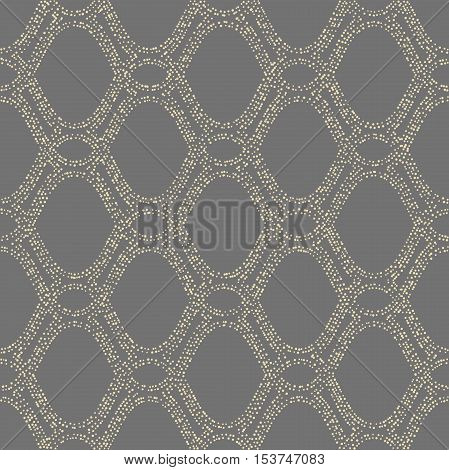 Seamless ornament. Modern geometric pattern with repeating doted elements. Gray and golden pattern