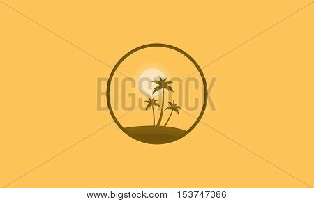 Clump palm and sun scenery of silhouettes vector