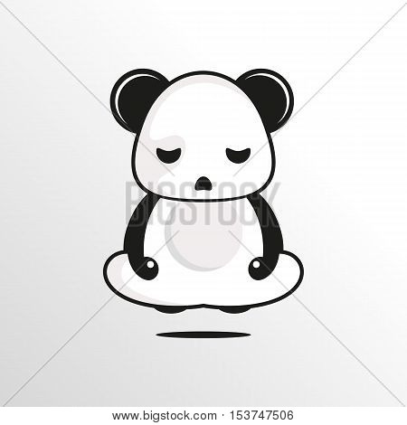 zen panda character with calm and clean background