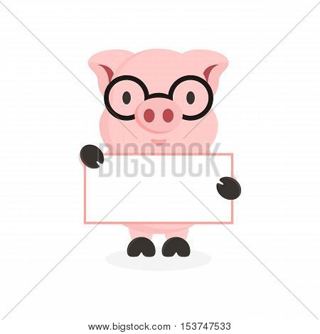 cute flat pig character with hand holding banner