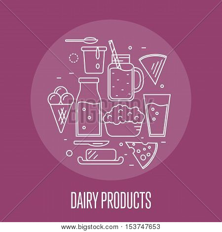 Milk products banner with round dairy assortment composition isolated on perpl background, vector illustration. Healthy nutritious concept with butter, ice cream, milk, yoghurt, cheese, kefir