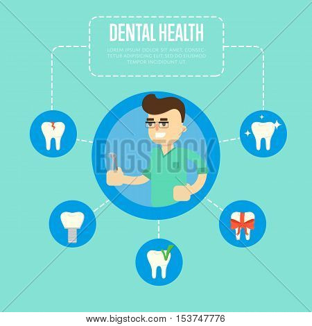 Smiling male dentist in green medical uniform holding dental pliers on blue background. Dental health vector illustration with round teeth icons. Oral hygiene. Stomatology clinic concept in flat