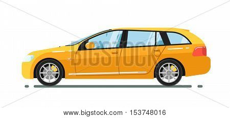 City car isolated on white background. Vector station wagon car. Vehicles cartoon car isolated. Station wagon car side view isolated. Urban car or family car cartoon style. Modern car model. Car icon. For car rental service or car sale poster. Car ad.