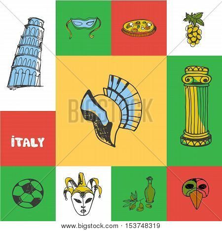 Italy checkered concept in national colors. Gladiator helmet, pizza, carnival mask, Pisa tower, soccer ball, olive oil, antique column hand drawn vector icons. Country related doodle symbols and text