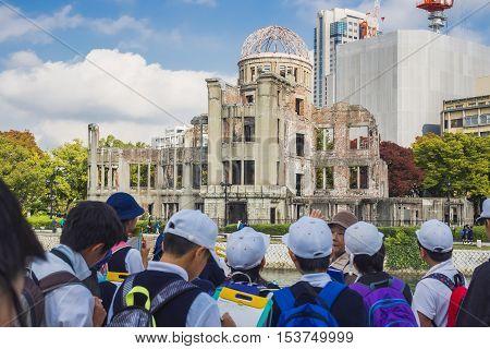 Hiroshima Japan - Nov 2 2015: Hiroshima atomic dome memorial Park with Japan student group visitor