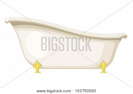 Vector illustration of retro bath on a white background. Vintage bath with golden metal legs. Subject of hygiene and water treatment. Tub