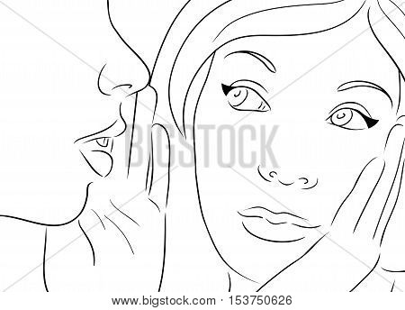 Contour Vector illustration with two gossiping girls.