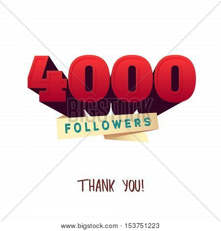 Vector thanks design template for network friends and followers. Thank you 000 followers card. Image for Social Networks. Web user celebrates a large number of subscribers or followers.