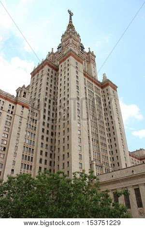 The main building of Moscow State University named after Lomonosov