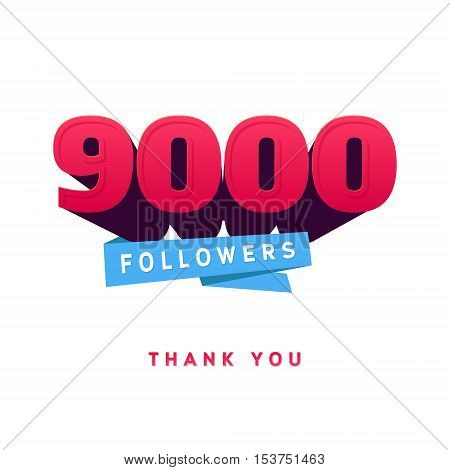 Vector thanks design template for network friends and followers. Thank you 900 followers card. Image for Social Networks. Web user celebrates a large number of subscribers or followers.