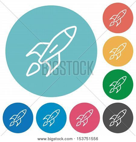 Launched rocket flat white icons on round color background.