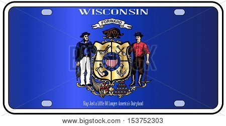 Wisconsin state license plate in the colors of the state flag with the flag icons over a white background
