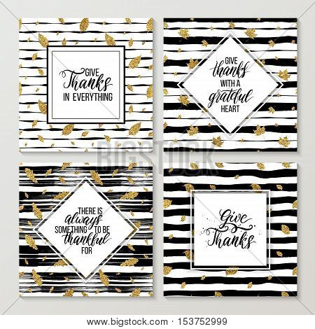 Happy Thanksgiving cards set, handwritten text on thanksgiving day on gold autumn seamless pattern with leaves, grunge striped background with golden glitter leaf, shiny vector for card, poster
