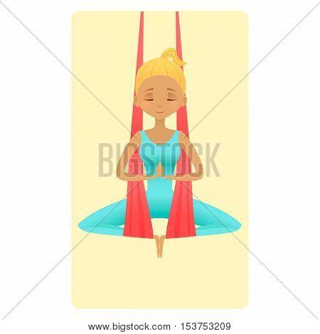 Aero-yoga anti-gravity yoga vector illustration. Girl in hammock practicing aerial yoga.