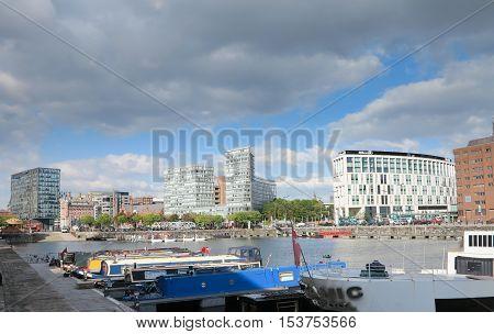 LIVERPOOL UK - CIRCA October 2016: Liverpool Ship Entering the Docks UK England