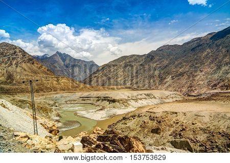 Confluence of Gilgit and Indus rivers Gilgit-Baltistan Pakistan