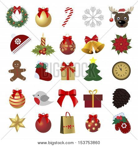 set of colored Christmas icons. Collection of holiday labels for the new year. Pattern to decorate or design a gift or for the Internet site. Baby vector illustration