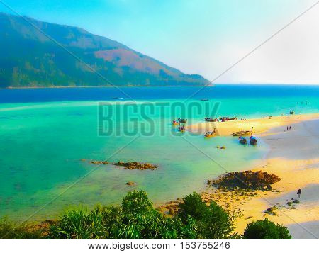 The blurred image of Kho Lipe Satun Thailand - Longtail boats taxi on the beach