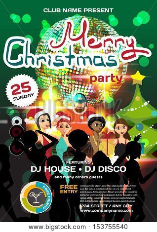 Vector christmas party invitation disco style. Night club, dj, women, disco ball template  posters or flyers.