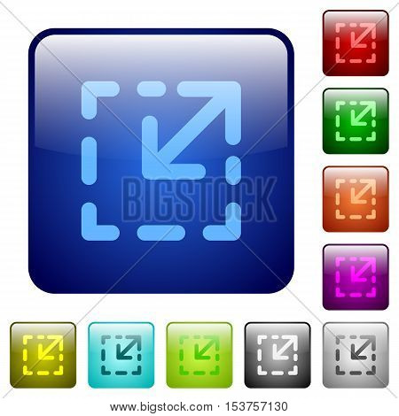 Resize element color glass rounded square button set