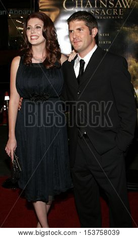 Jonathan Liebesman and Diora Baird at the Los Angeles premiere of 'The Texas Chainsaw Massacre: The Beginning' held at the Grauman's Chinese Theater in Hollywood, USA on October 5, 2006.