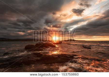 October sunset near the town of Chernomorets, Burgas, Bulgaria