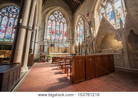 WINCHELSEA, UK - APRIL 17: Beautiful interior and stonework architecture of the parish church of St Thomas in Winchelsea, UK on April 17, 2014