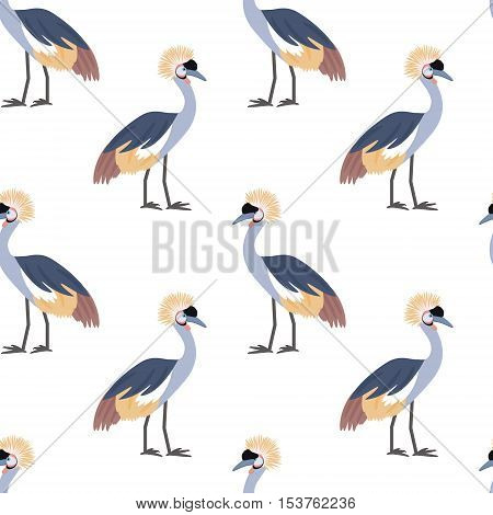 Crowned crane. African bird. Tropical bird. Seamless pattern background. Vector illustration.