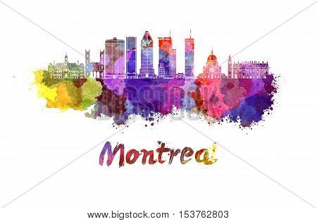 Montreal skyline in watercolor splatters with clipping path