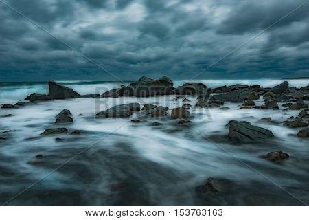 Stormy evening over the sea, near Burgas, Bulgaria