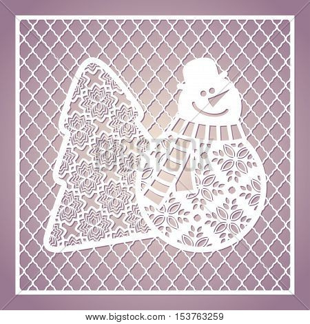 Openwork square card with cute snowman and Christmas tree. Laser cutting template for greeting cards envelopes invitations interior decorative elements.