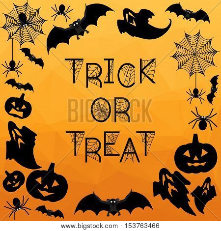 Halloween Background. Trick or treat. Halloween orange background with bats ghosts spiderweb spiders and pumpkins. Vector illustration