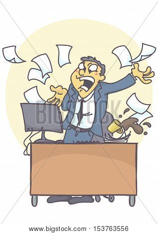 Business man or clerk in the office, shouting angry at computer, throwing files