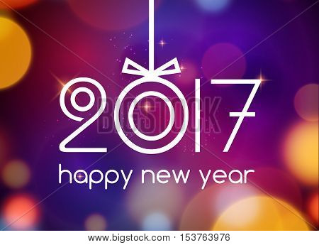 New Year 2017 festive card template. New year party design invitation. Christmas holiday background.