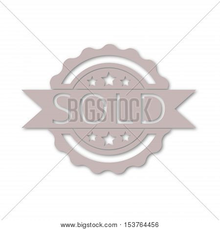 Simple Sold sign, vector icon on white background