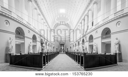 Copenhagen, Denmark - August 3, 2016: Interior view of Vor Frue Cathedral in black and white