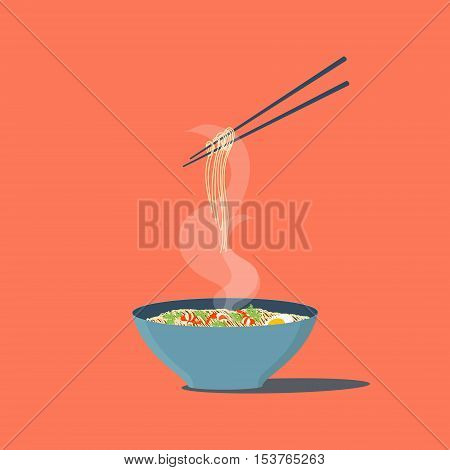 Bowl of noodles with shrimps and parsley. Chopsticks hovering above. Wan mian. Asian noodles. Japanese Chinese noodles. South East Asian cuisine. Isolated vector illustration.