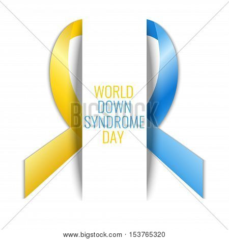 World Down Syndrome Day. Down-syndrome awareness symbol. Blue and yellow ribbon on white background. Medical concept. Vector illustration.