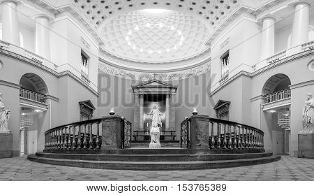 Copenhagen, Denmark - August 3, 2016: The Sanctuary inside Vor Frue Cathedral in black and white