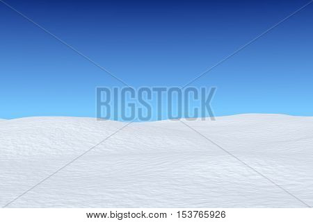 Snowy Field Under Blue Sky