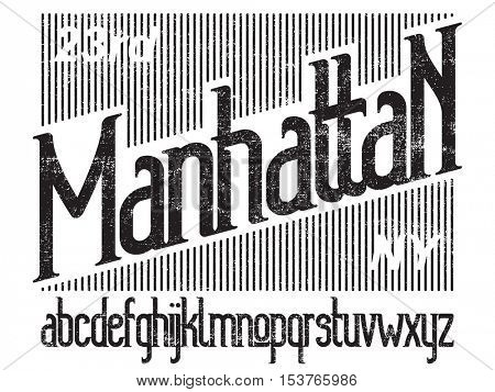 Manhattan - modern thin line font. Minimalistic typeface. Alphabet letters and numbers