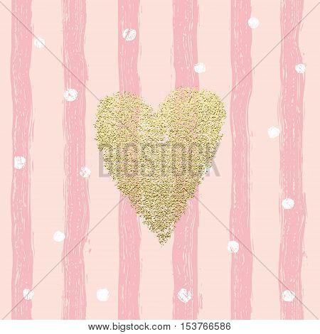 Gold Glittering Heart Confetti Seamless Pattern