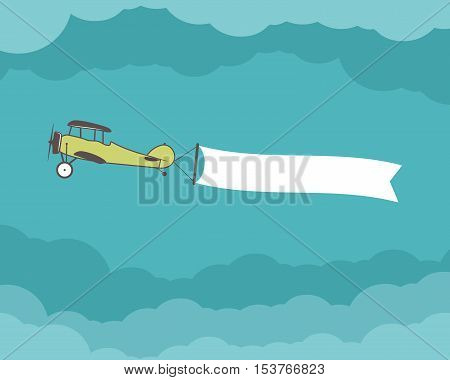Airplane with banner, empty form for quote, text, slogan, motivation signs. Retro biplane emblem. Aviation brochure, flyer. Travel company flyer layout template. Vector.