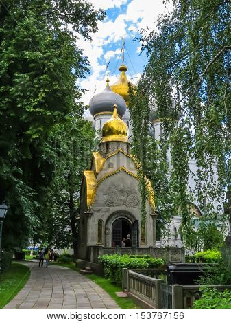 MOSCOW, RUSSIA - JUNE 25 2016: Saint Ambrose's church in the Novodevichy Convent