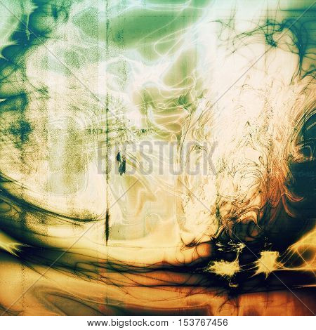 Grunge texture, aged or old style background with retro design elements and different color patterns: yellow (beige); brown; green; blue; red (orange); white