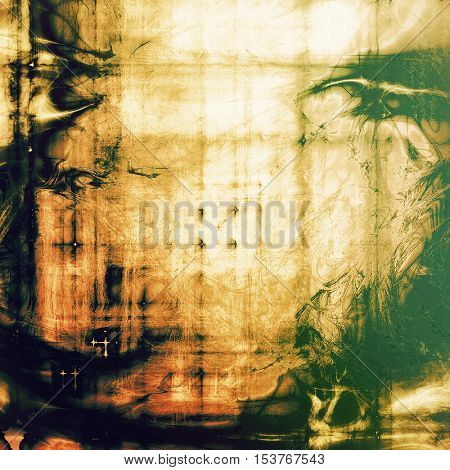 Background with dirty grunge texture, vintage style elements and different color patterns: yellow (beige); brown; green; red (orange); white; black