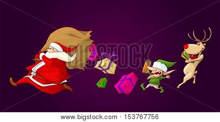 Colorful vector illustration of santa runing with his big bag which has a hole it it and presents falling on the ground. His helpers a christmas elf and a raindeer runing to gather them.