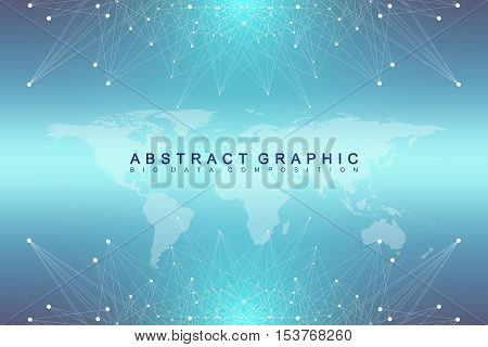 Big data complex. Graphic abstract background communication. Perspective backdrop with World Map. Minimal array with compounds lines and dots. Digital data visualization. Vector illustration Big data